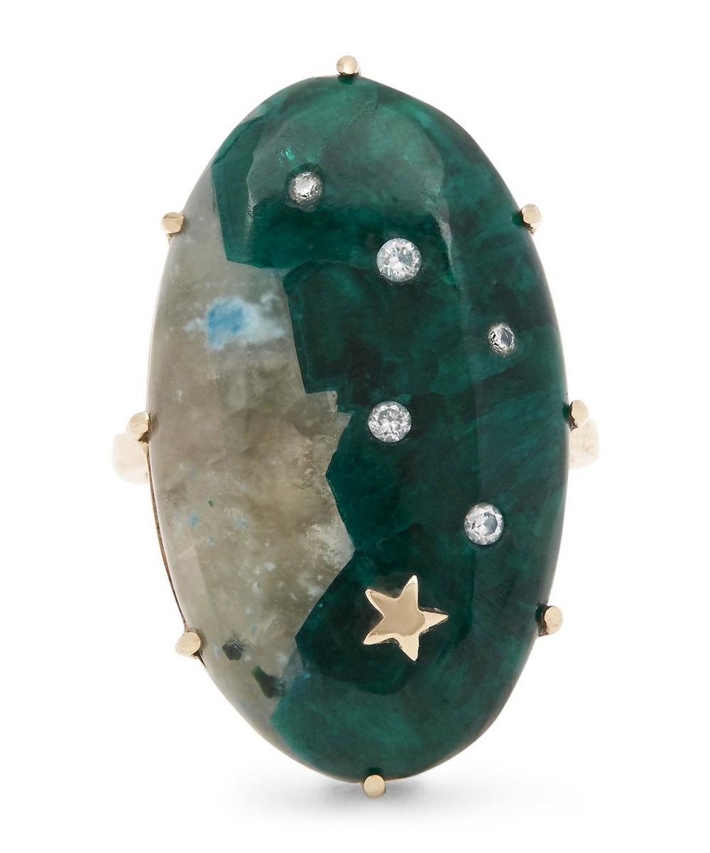 Gold Large Oval Dioptase Quartz Star One-of-a-Kind Ring