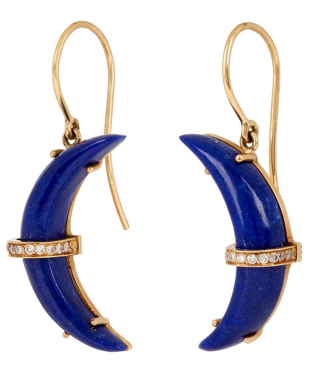 Gold Crescent Moon Lapis Lazuli and Diamond Earrings