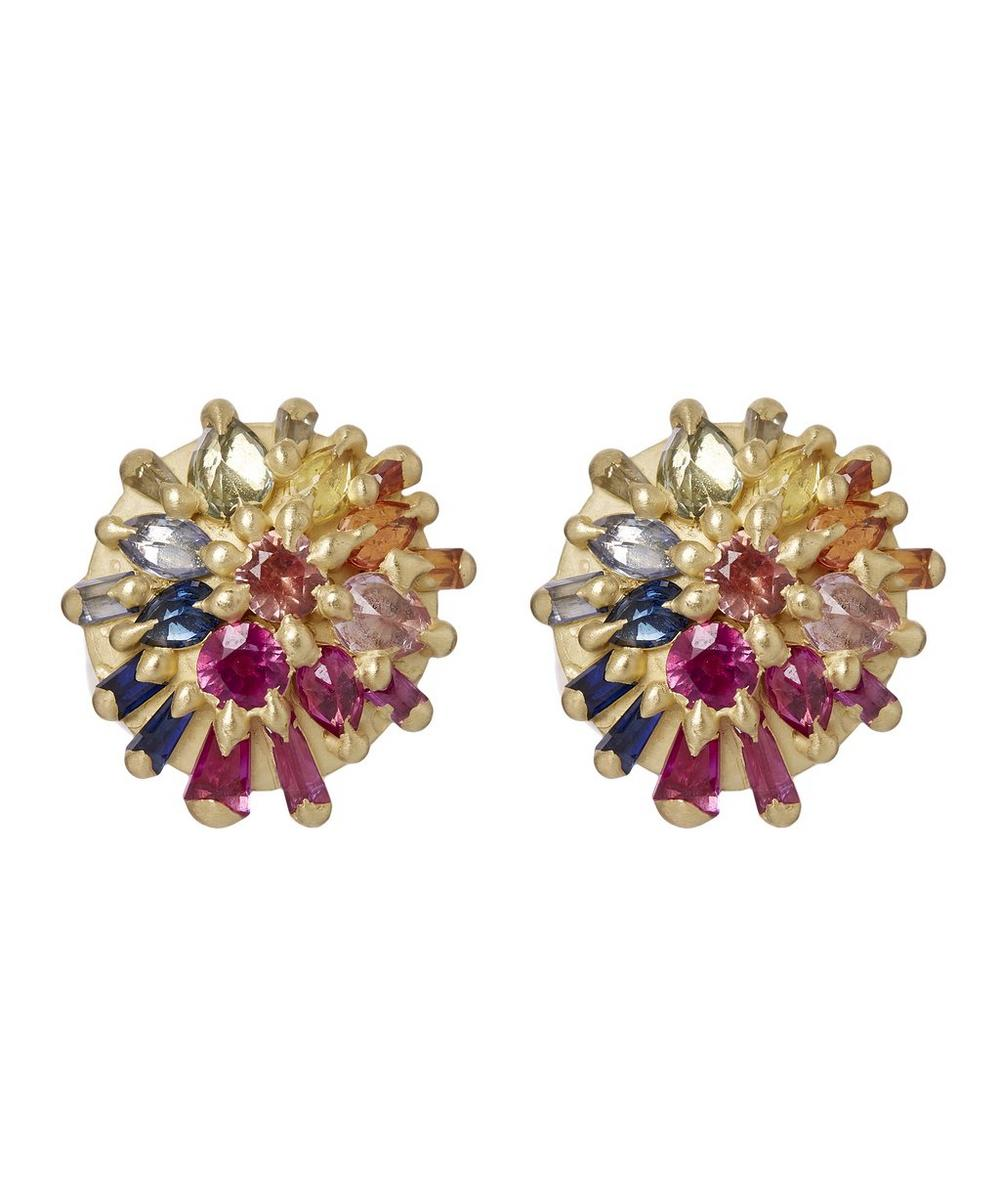 POLLY WALES Gold Colette Couture Rainbow Sapphire Stud Earrings