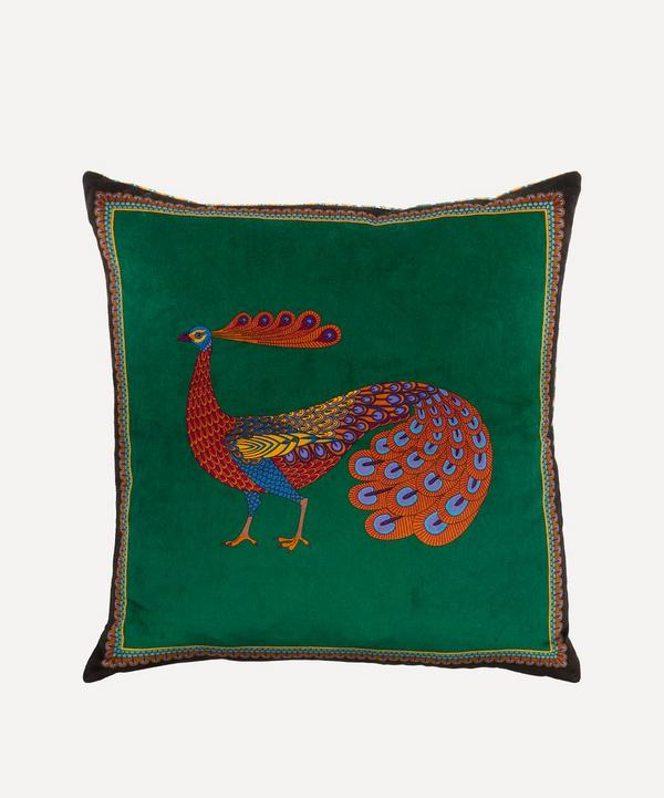 Peacock Garden Velvet Cushion
