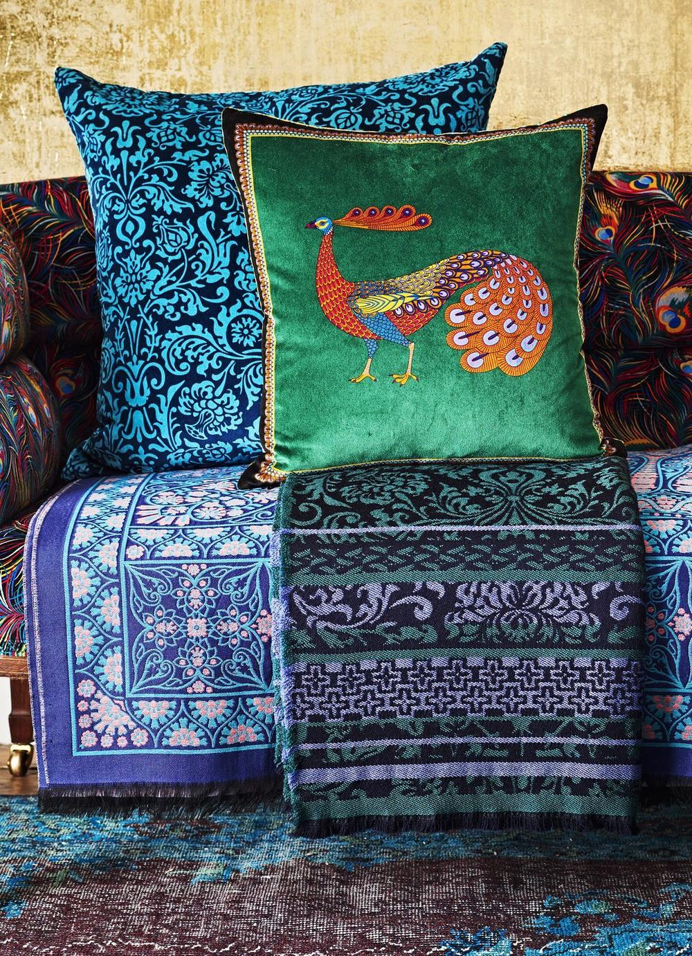 Peacock Garden Velvet Cushion