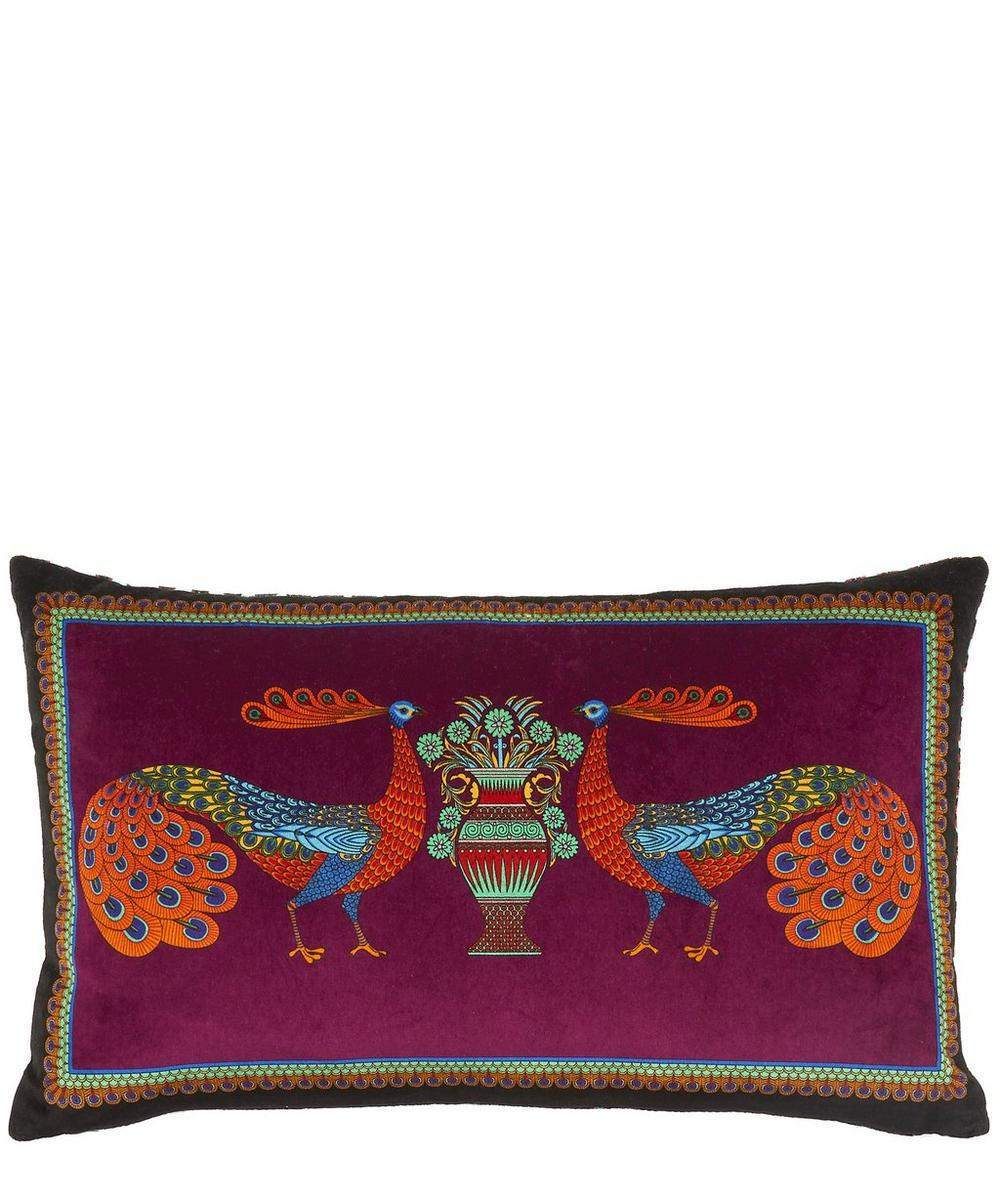 Peacock Garden Velvet Bolster Cushion