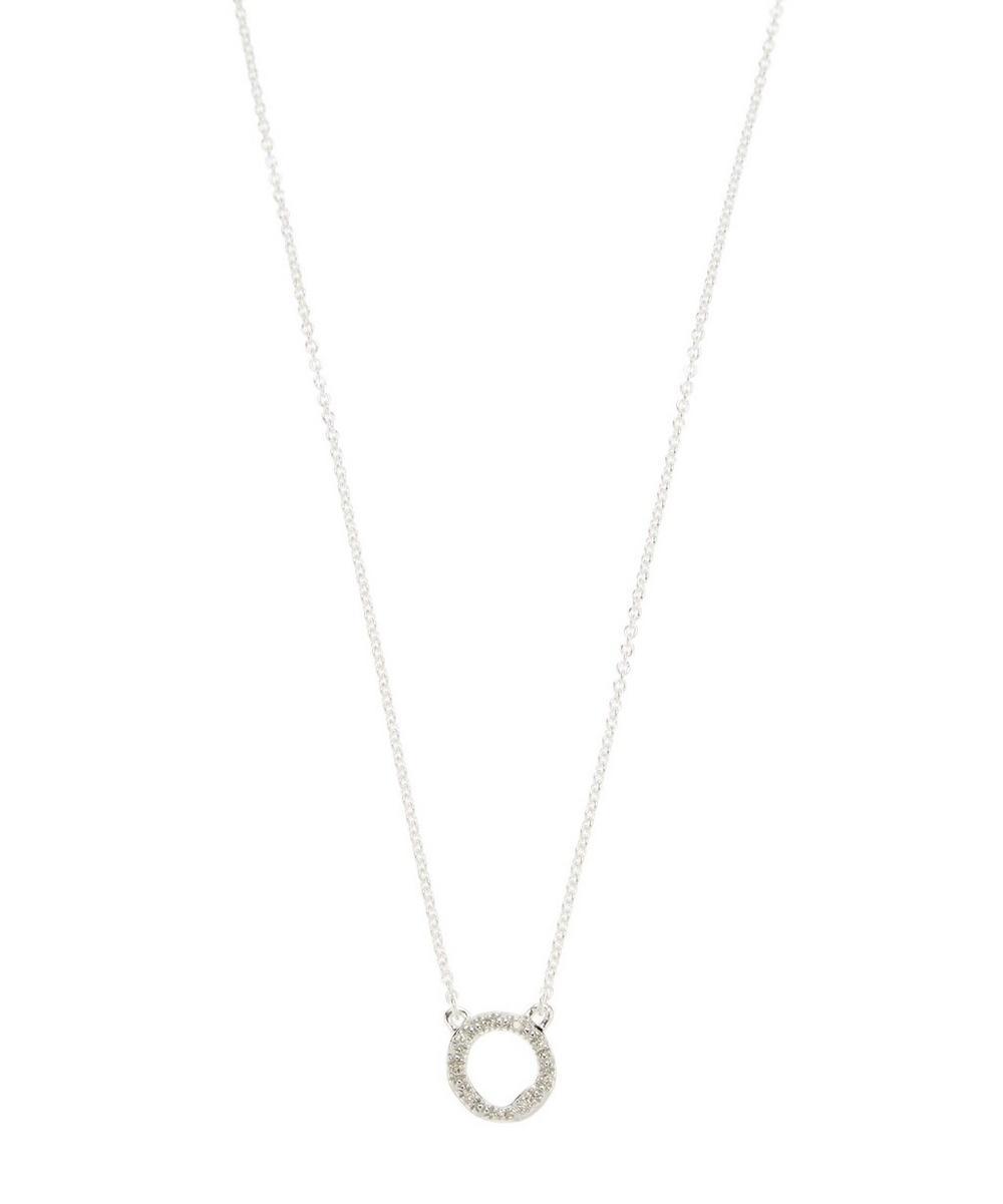 Monica Vinader Jewelry SILVER RIVA MINI CIRCLE DIAMOND NECKLACE
