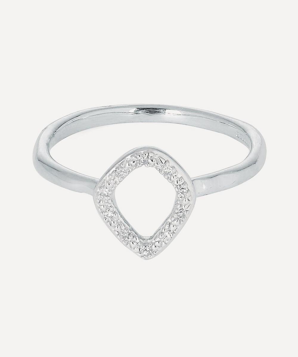 Silver Riva Mini Kite Diamond Stacking Ring from Liberty