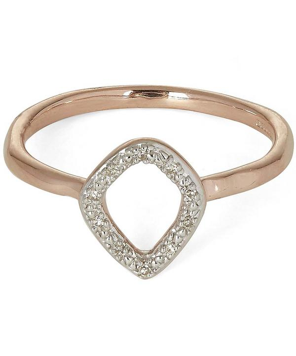 Rose Gold-Plated Riva Mini Kite Diamond Stacking Ring