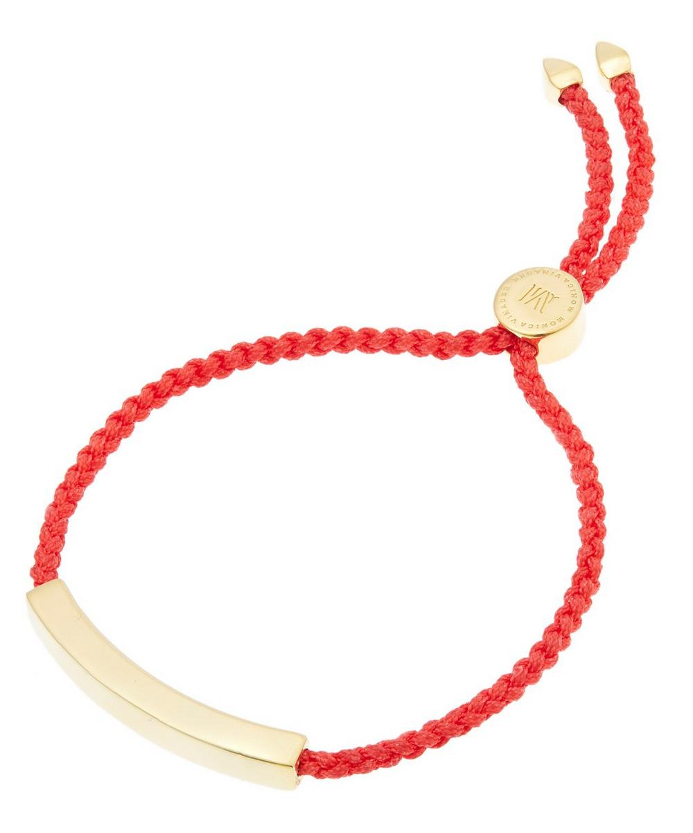 Gold-Plated Coral Cord Linear Friendship Bracelet