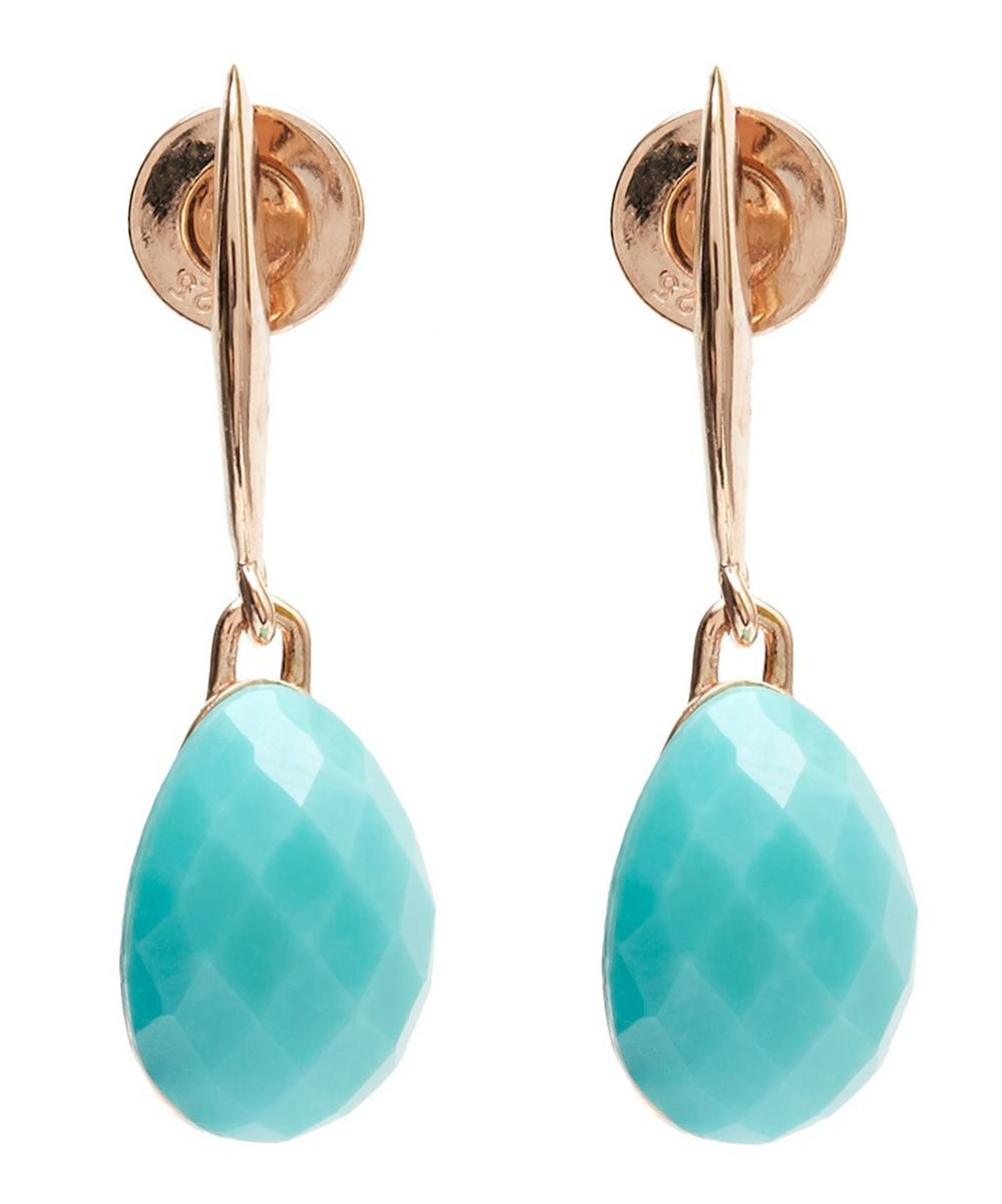 Rose Gold-Plated Nura Small Turquoise Teardrop Earrings