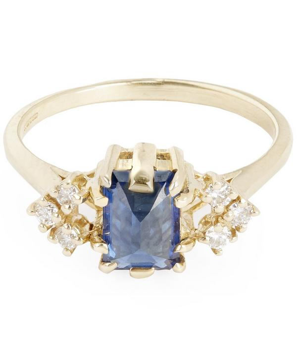 Gold Bea Arrow Blue Sapphire Ring