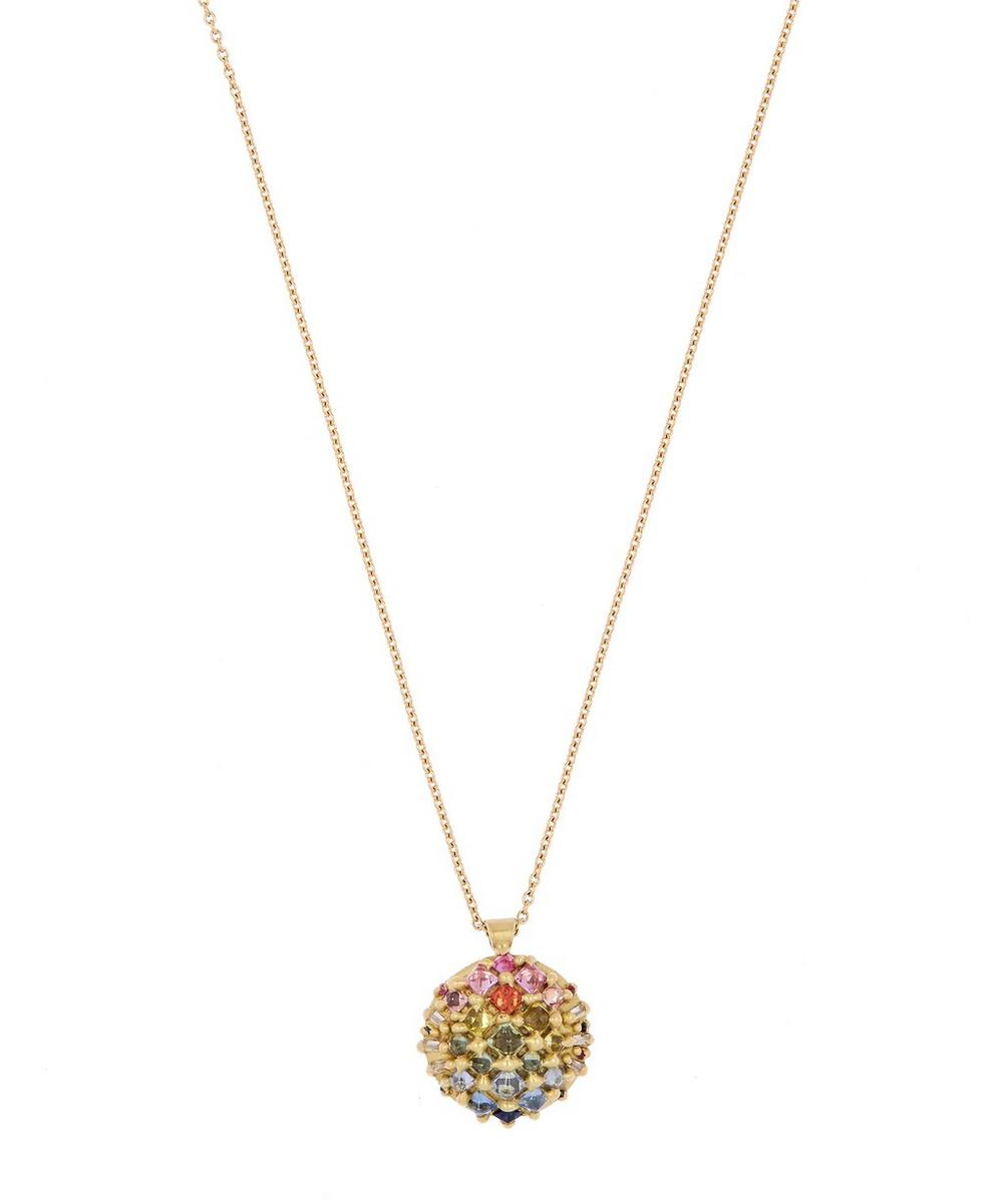 GOLD SNAP DRAGON XL RAINBOW SAPPHIRE DOME PENDANT NECKLACE