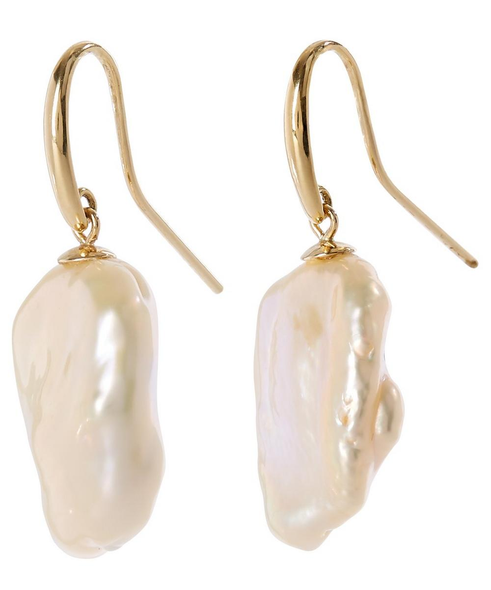 Gold Baroque Pearl Drop Earrings