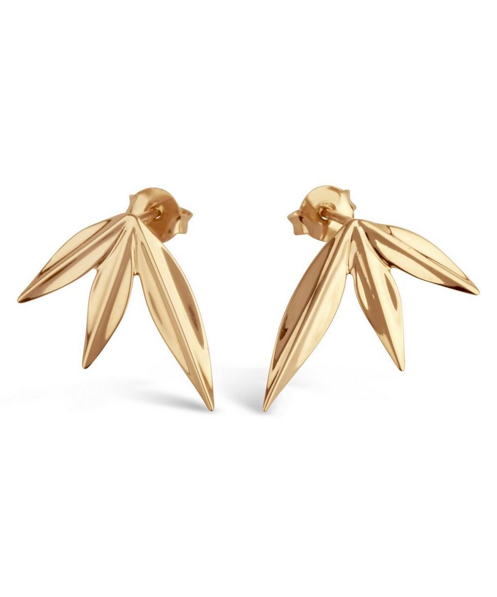 Gold-Plated Lotus Triple Petal Stud Earrings