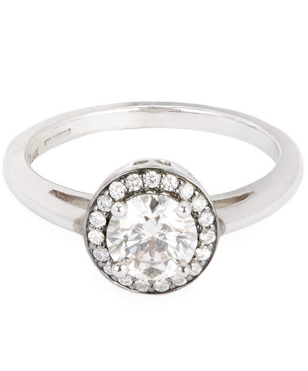 White Gold Round Rosette White Diamond Ring
