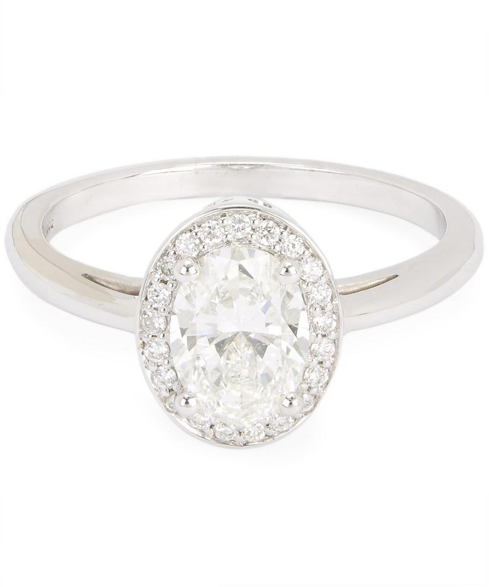 White Gold Oval Rosette White Diamond Ring