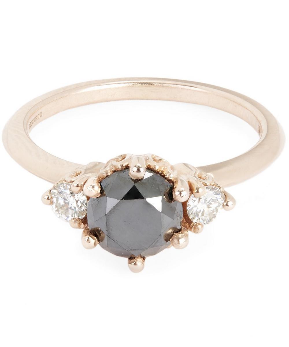 Rose Gold Hazeline Black Diamond Three Stone Ring