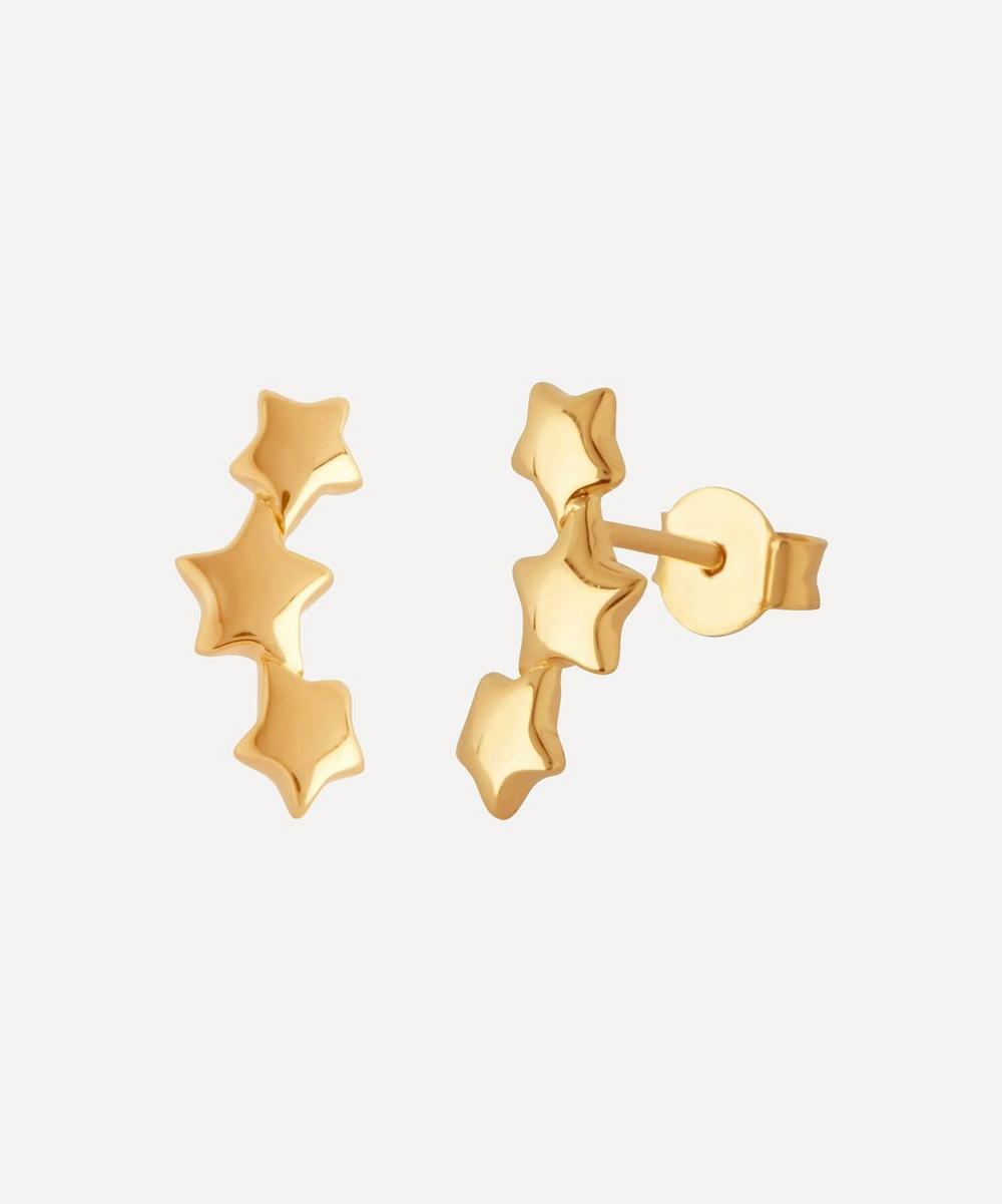 Gold-Plated Bijou Triple Star Earrings