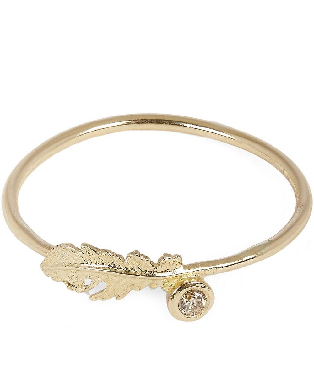 Gold Plume Feather Champagne Diamond Ring