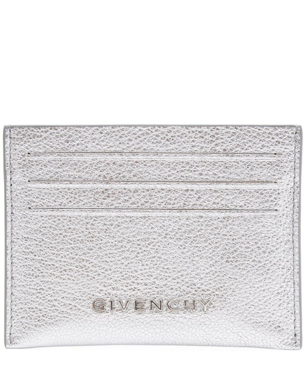 Metallic Grained Leather Card Holder