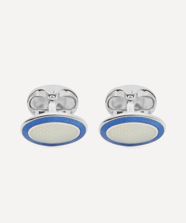 Silver Domed Enamel Cufflinks