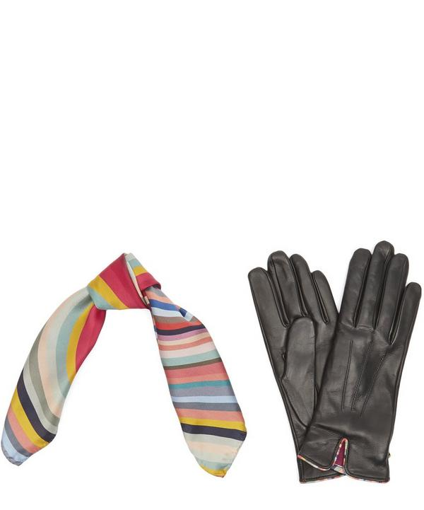 Swirl Silk Scarf and Leather Gloves Gift Set