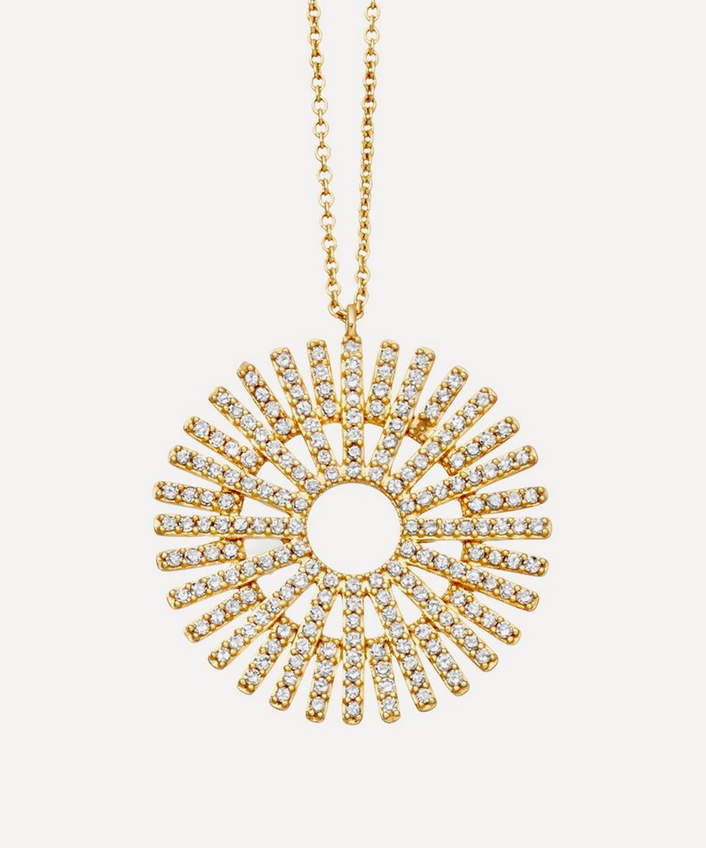 Gold Large Rising Sun Diamond Pendant Necklace