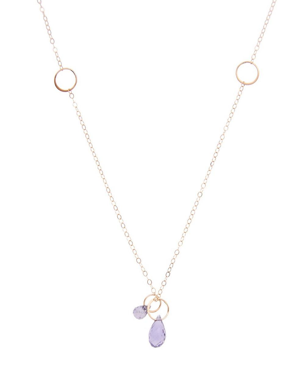 Gold Two-Drop Iolite Necklace