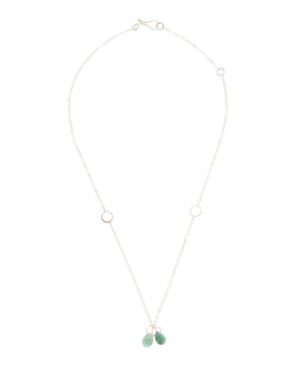 5792484a94359 Gold Two-Drop Emerald Necklace   Liberty London