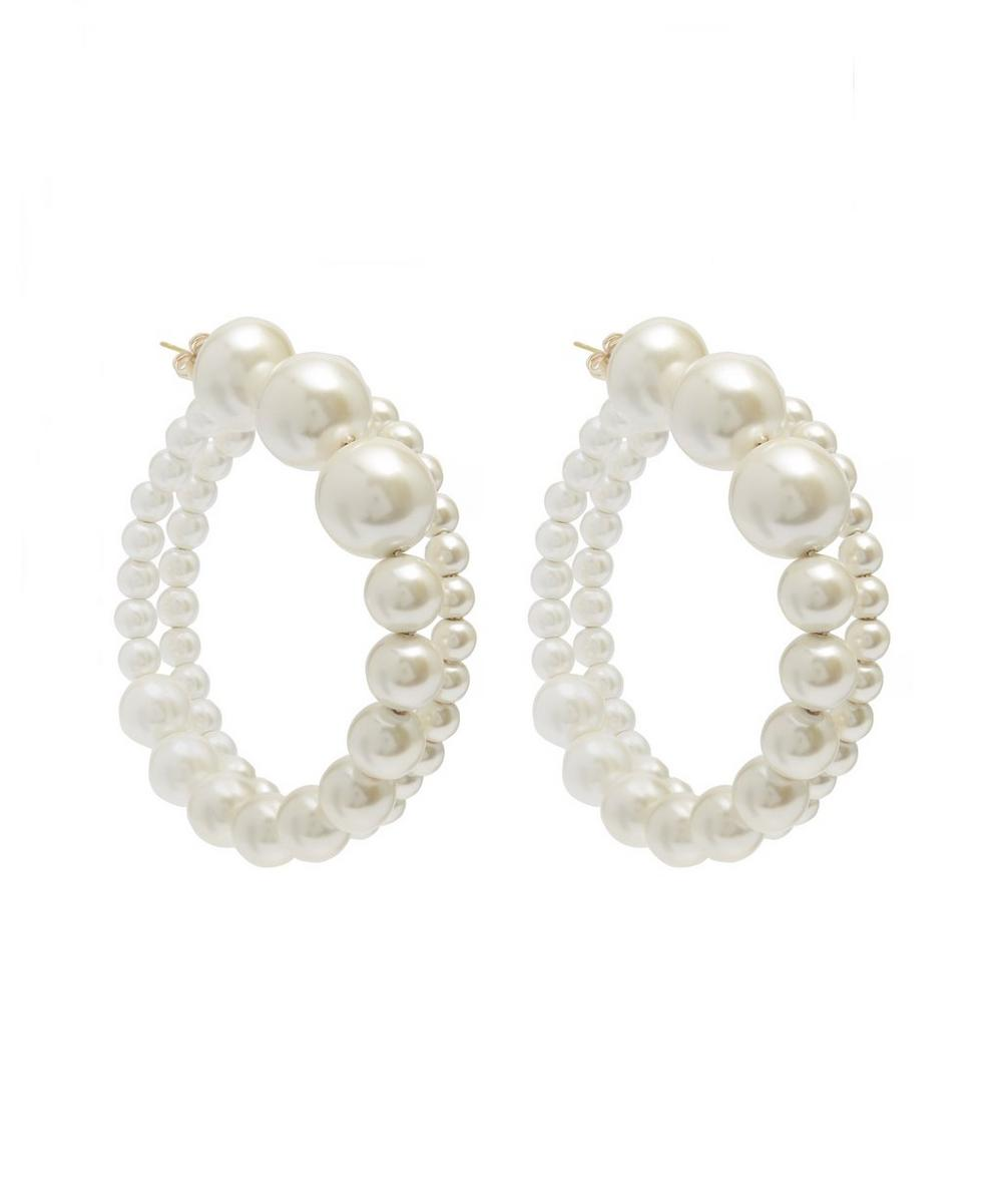 Faux Pearl Maxi Hoop Earrings