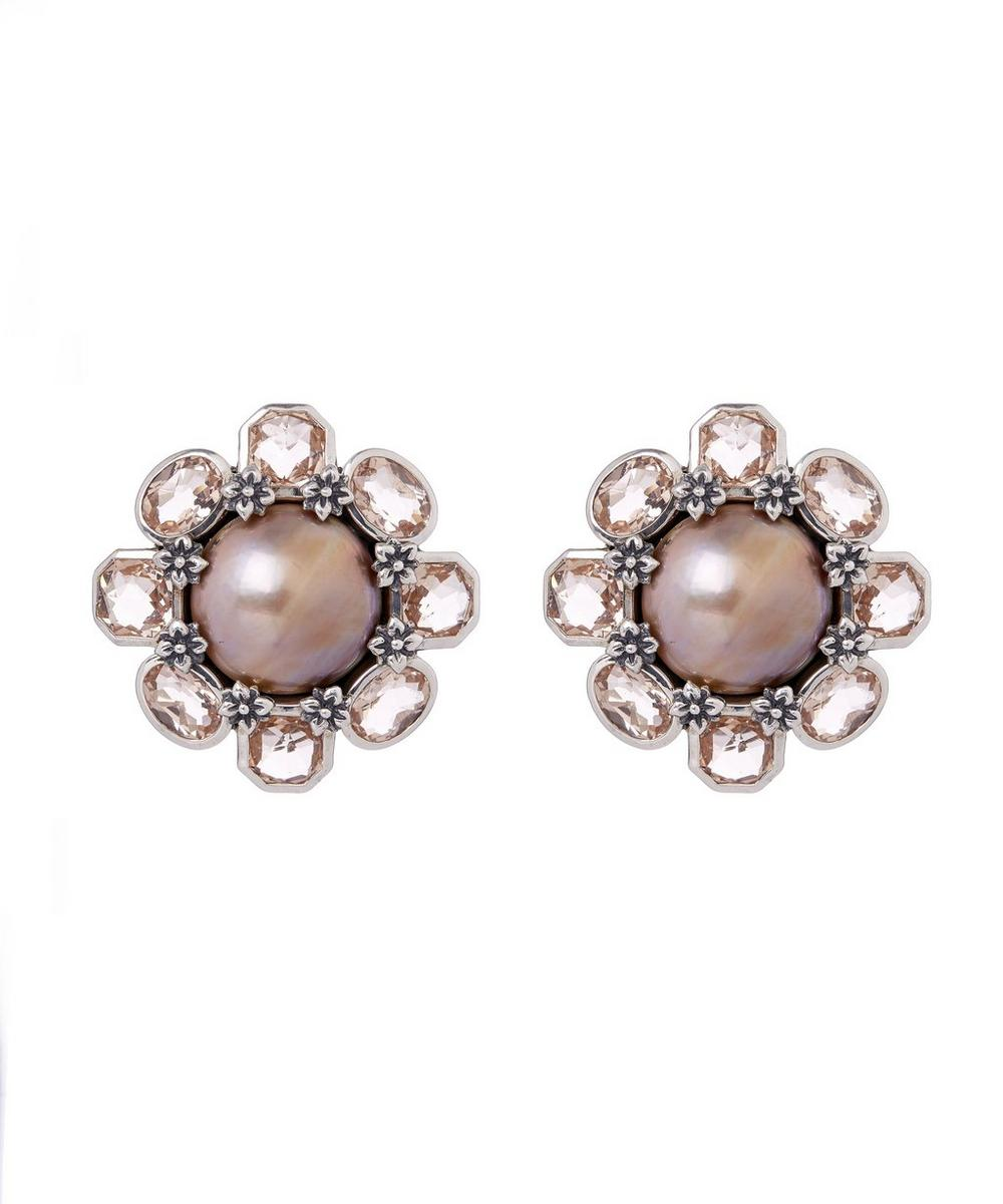 Sterling Silver Pink Mabe Pearl and Peach Quartz Flower Clip-On Earrings