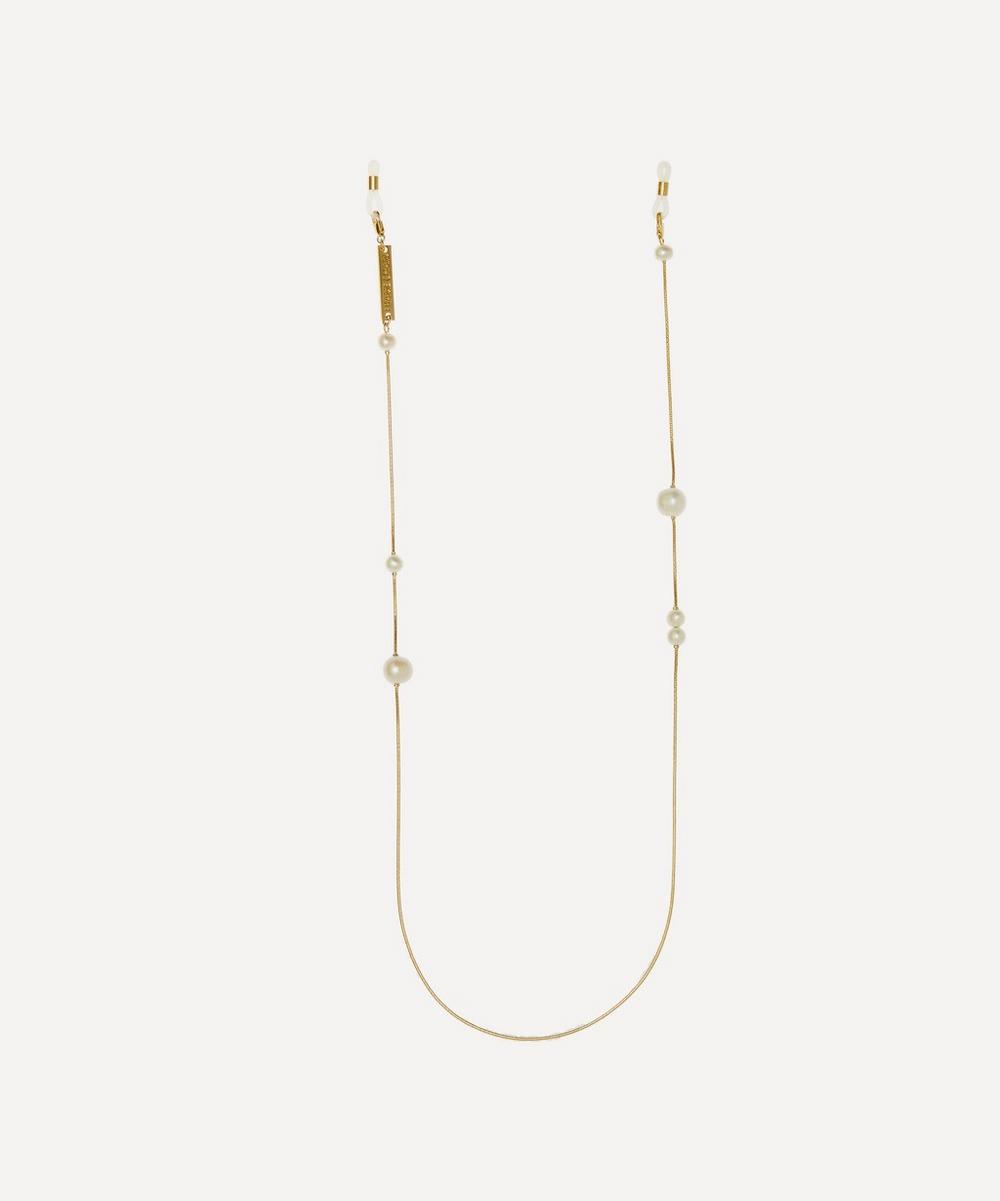 FRAME CHAIN GOLD-PLATED FRESHWATER DROP PEARL GLASSES CHAIN