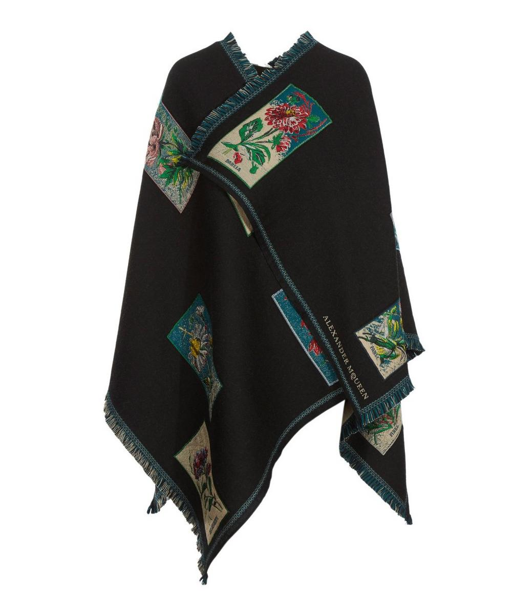 Floral Seedling Wool-Blend Cape
