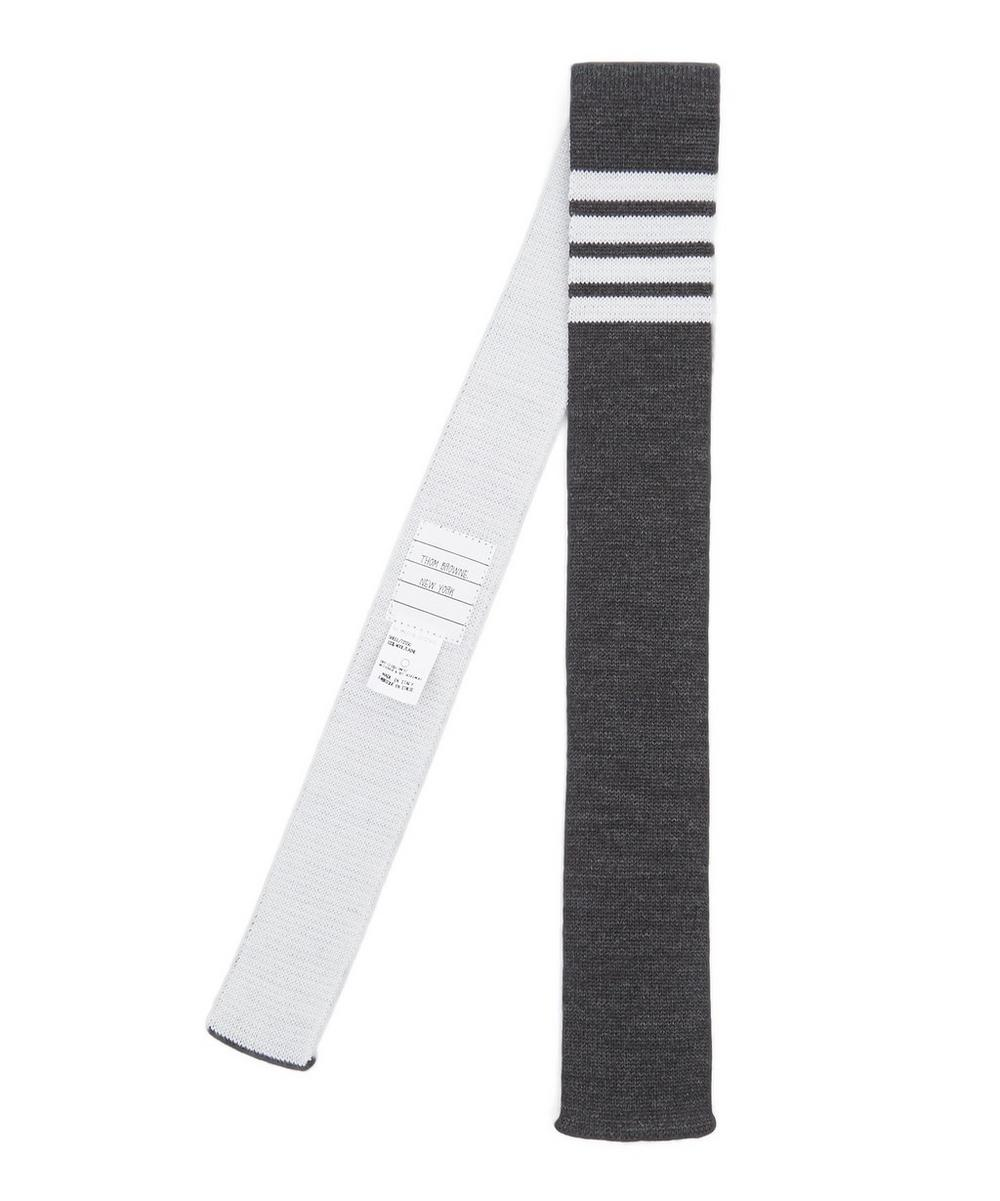 4-Bar Stripe Knit Blunt Hem Tie