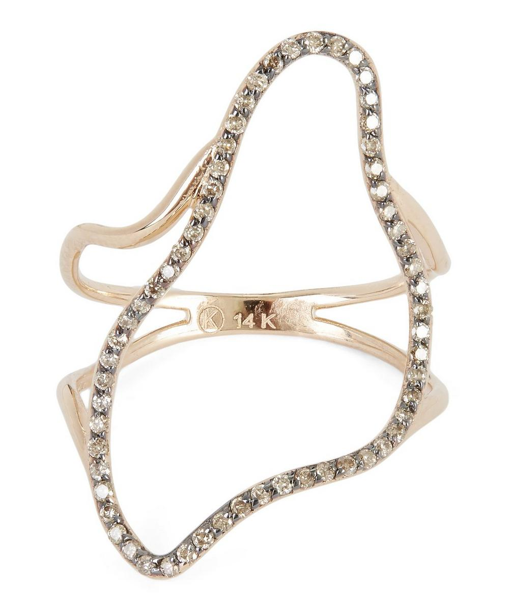 Rose Gold Large Comet Champagne Diamond Ring