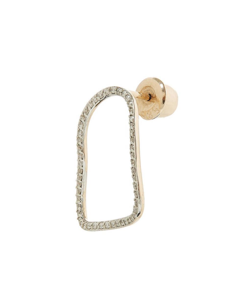 Rose Gold Small Comet White Diamond Single Earring