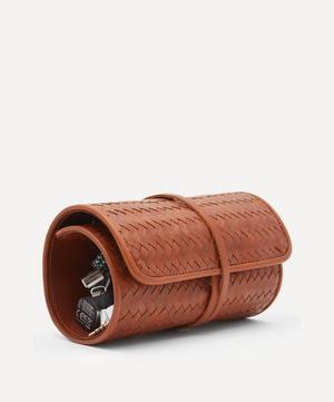 Woven Leather Herringbone Tech Roll
