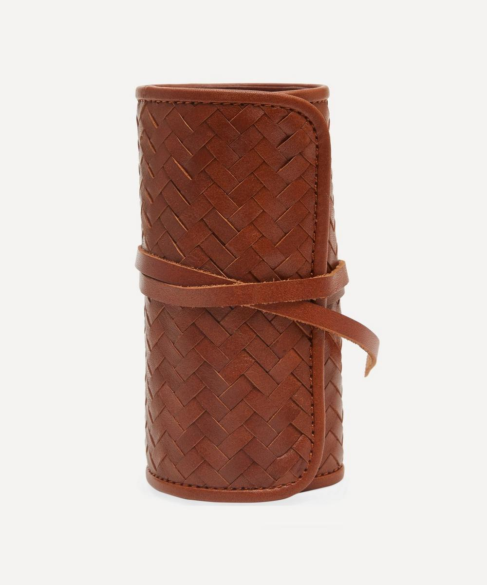 Woven Leather Herringbone Grooming Roll