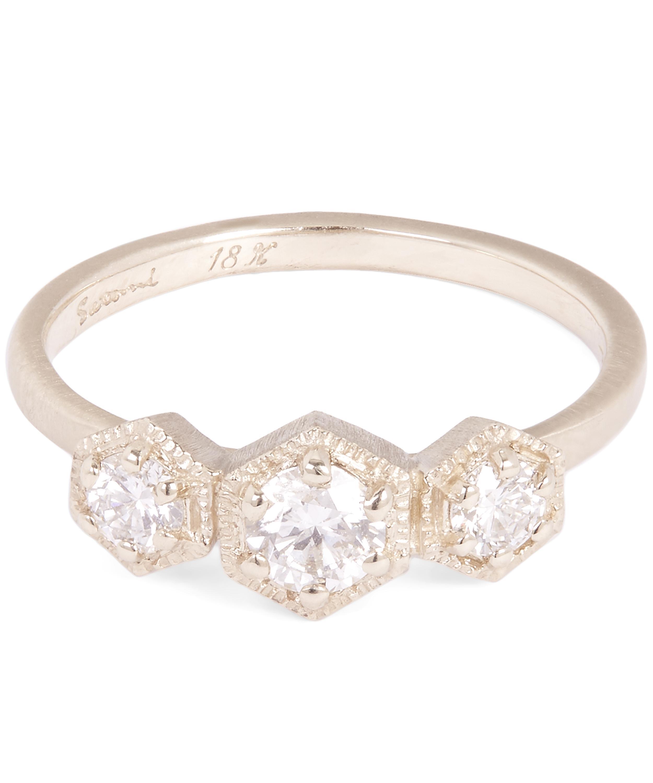76b4f1ac6 Gold Triple Hex White Diamond Ring | Liberty London