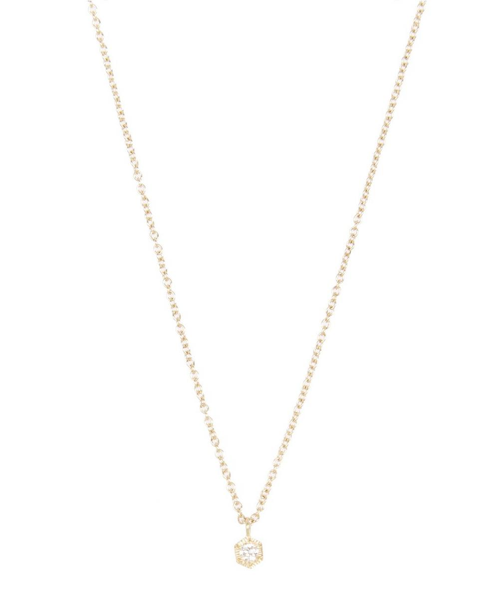 Gold Baby Hexagon White Diamond Necklace