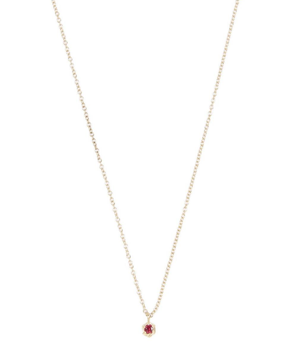 Gold Baby Hexagon Ruby Necklace
