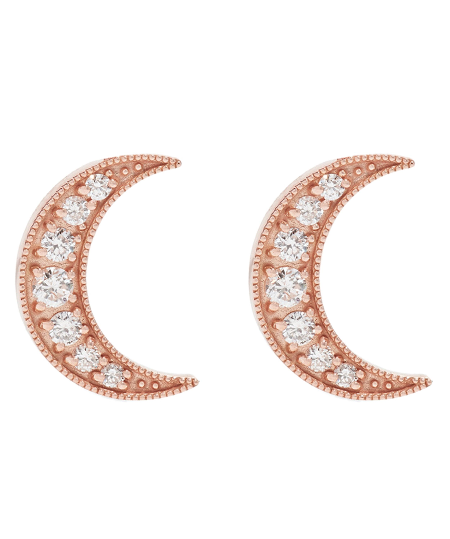 527bfad07 Rose Gold Small Crescent Moon White Diamond Stud Earrings   Liberty ...