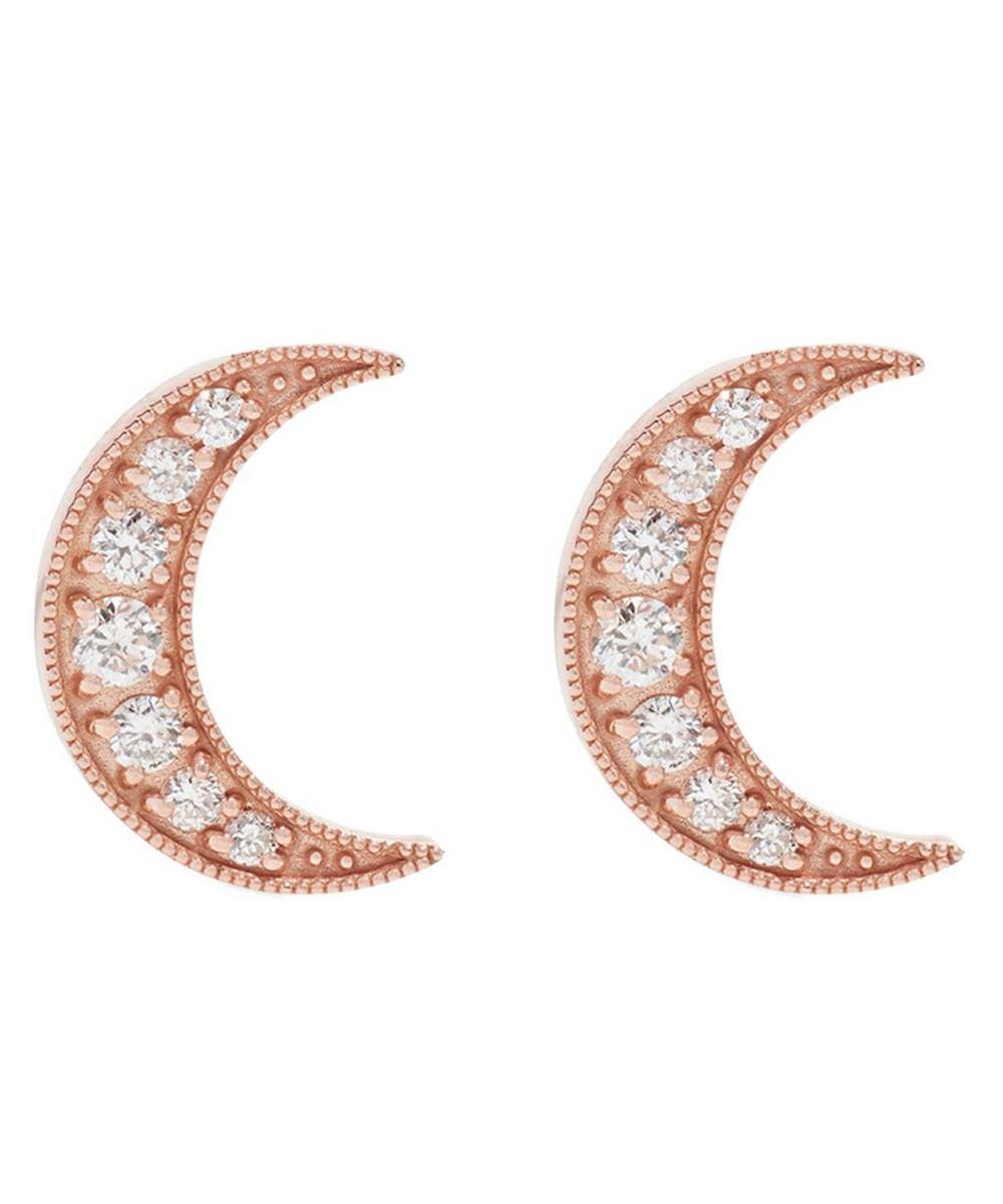Rose Gold Small Crescent Moon White Diamond Stud Earrings