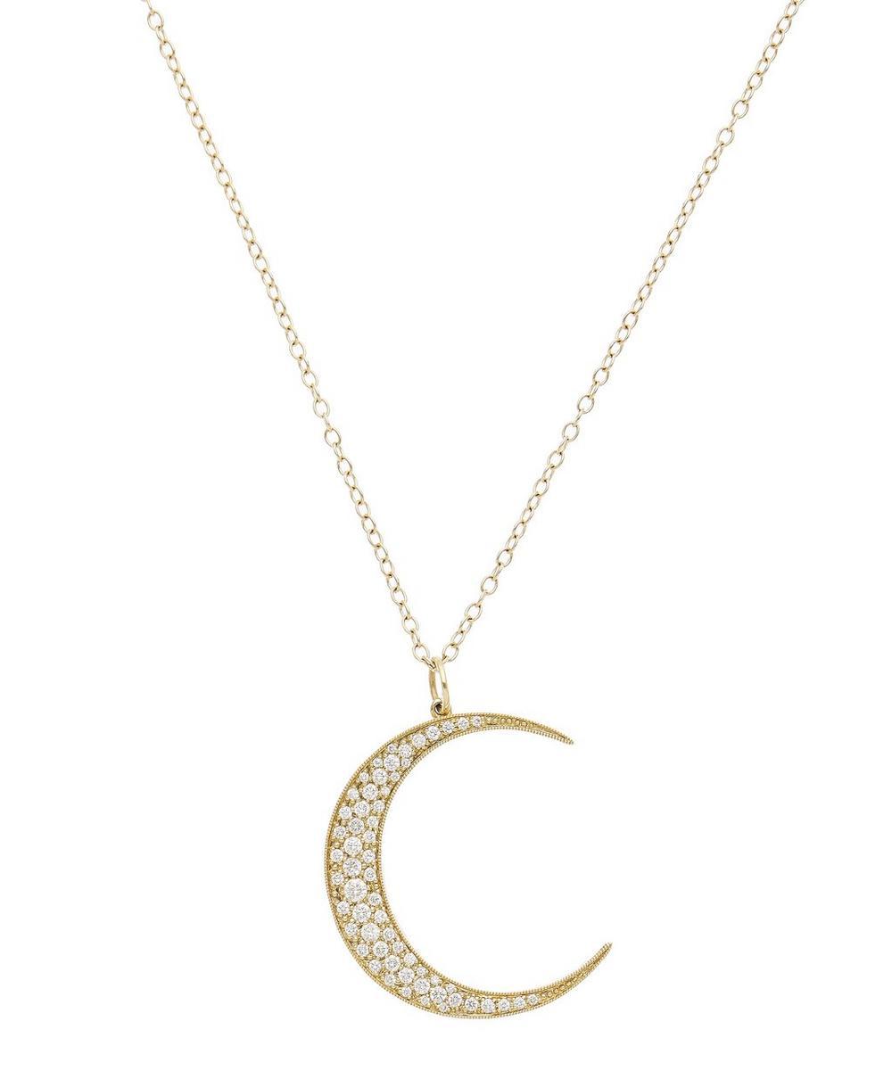 Gold Luna White Diamond Pendant Necklace