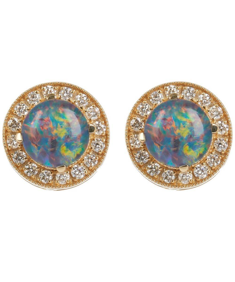 Gold Australian Opal Stud Earrings