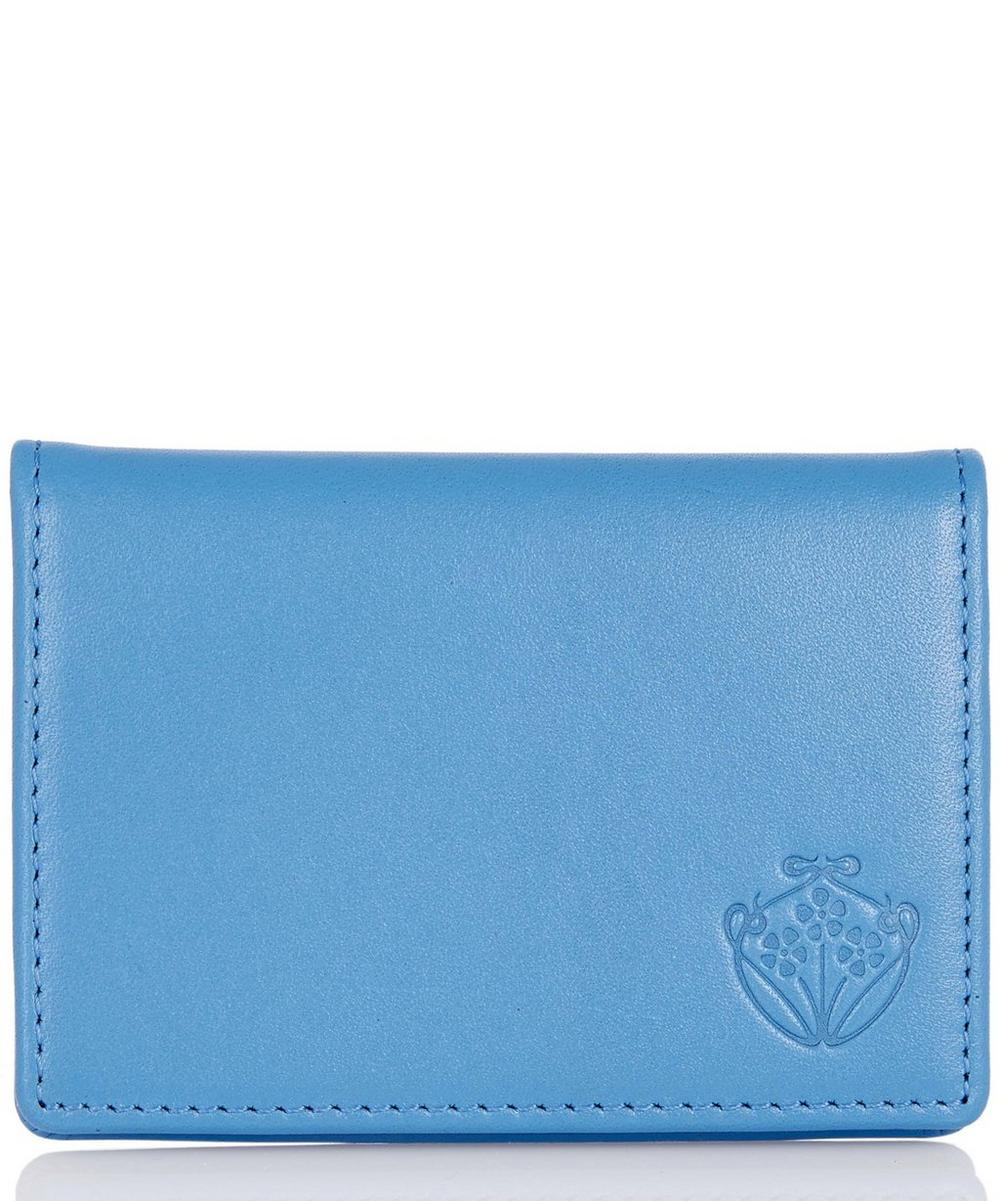 Leather Flip Card Holder in Blue