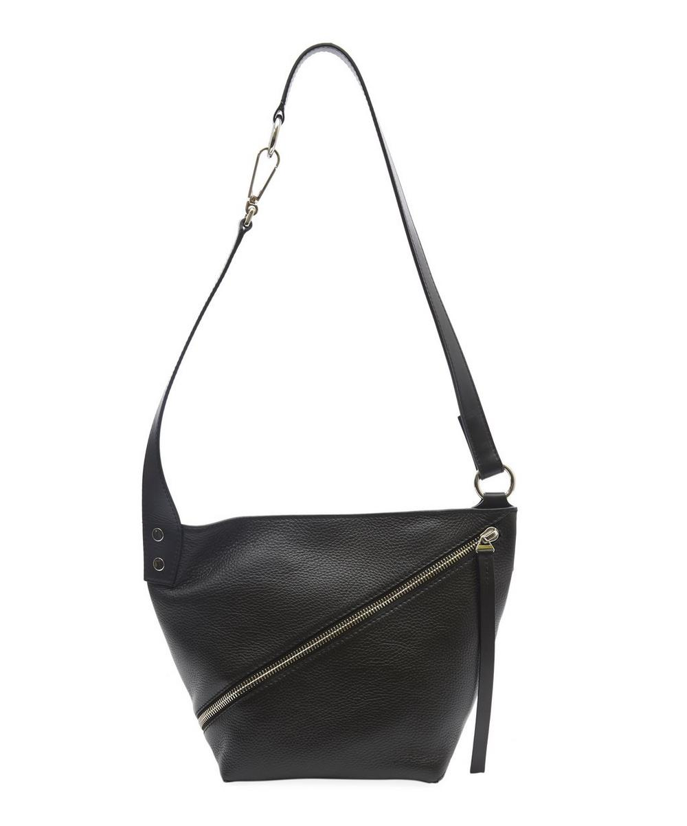 Grained Leather Diagonal Zip Small Hobo Bag