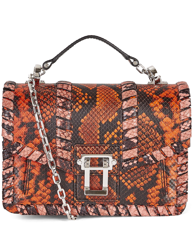 d9dad17223b Hava Python-Embossed Leather Whipstitch Chain Shoulder Bag