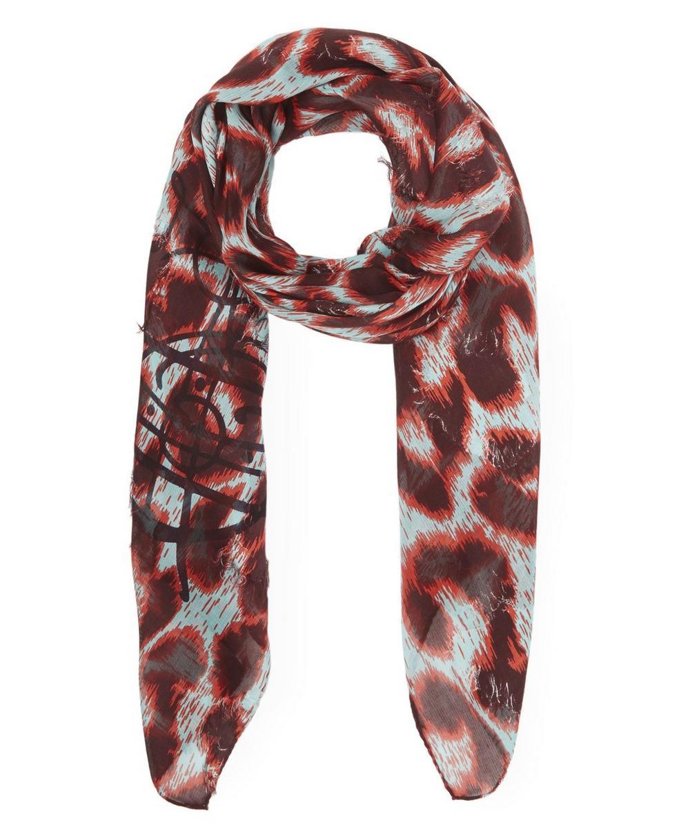 Leopard Print Cotton-Blend Scarf