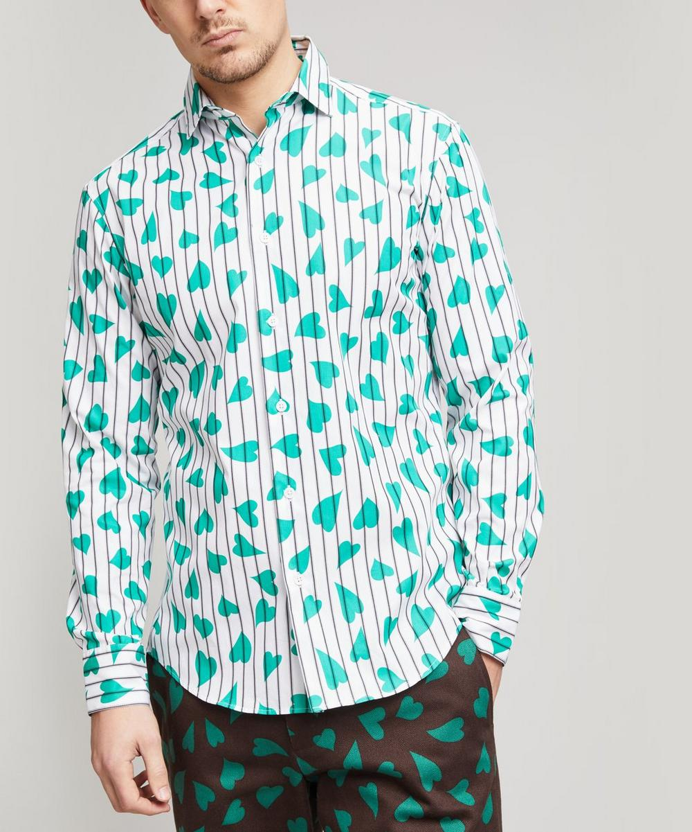 Heart Print Striped Shirt