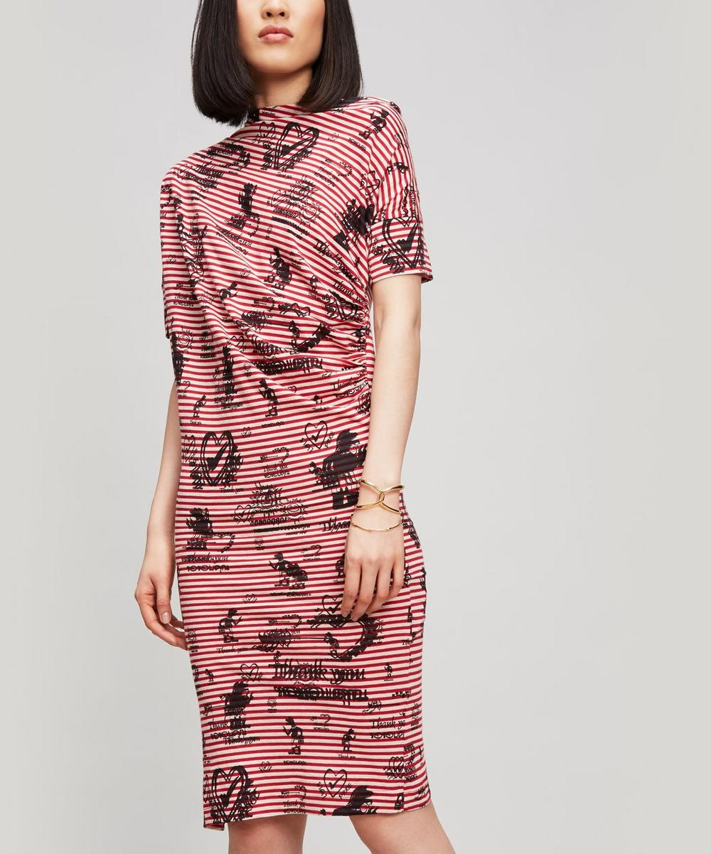 ANGLOMANIA BY VIVIENNE WESTWOOD DRAPED STRIPE SCRIBBLE DRESS