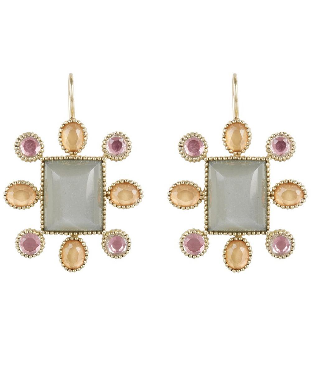 Gold Cora Moonstone Cushion Earrings