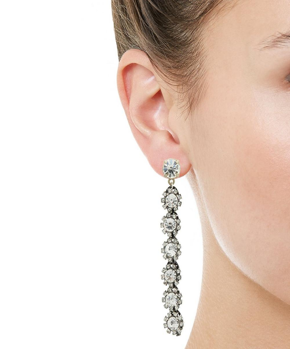 Silver-Plated Royale Crystal Line Earrings
